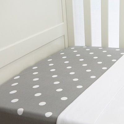 Lil Fraser - Cot Sheet 2 Piece Set (Grey with White Polkadot Fitted with White Flat) - Bedding - L'il Fraser - Afterpay - Zippay Carry Them Close