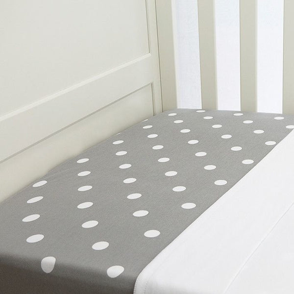 Lil Fraser - Cot Sheet 2 Piece Set (Grey with White Polkadot Fitted with White Flat), , Bedding, L'il Fraser, Carry Them Close  - 1