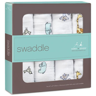 Aden and Anais - Classic Swaddles - Jungle Jam (4 Pack) - swaddle - Aden and Anais - Afterpay - Zippay Carry Them Close
