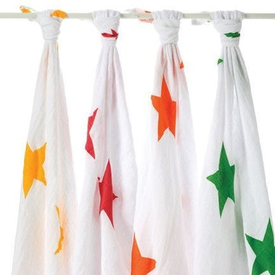 Aden and Anais - Classic Swaddles - Super Star (4 Pack) - swaddle - Aden and Anais - Afterpay - Zippay Carry Them Close