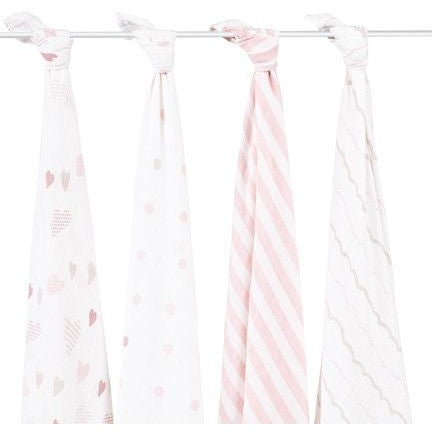 Aden and Anais - Classic Swaddles - Heartbreaker (4 Pack) - swaddle - Aden and Anais - Carry Them Close