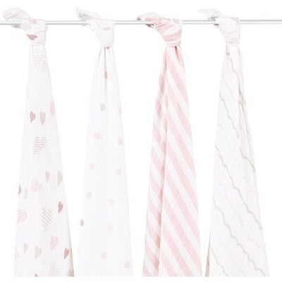 Aden and Anais - Classic Swaddles - Heartbreaker (4 Pack) - swaddle - Aden and Anais - Afterpay - Zippay Carry Them Close
