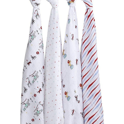 Aden and Anais - Classic Swaddles - Vintage Circus (4 Pack) - swaddle - Aden and Anais - Afterpay - Zippay Carry Them Close