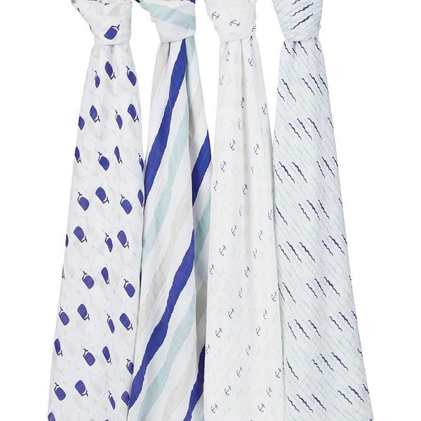 Aden and Anais - Classic Swaddles - High Seas (4 Pack) - swaddle - Aden and Anais - Carry Them Close