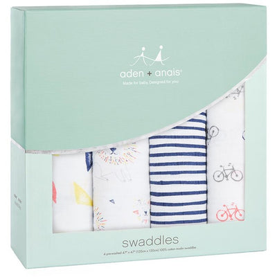 Aden and Anais - Classic Swaddles - Leader Of The Pack (4 Pack) - swaddle - Aden and Anais - Afterpay - Zippay Carry Them Close