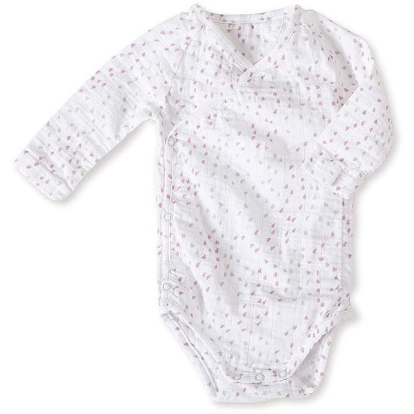 Long Sleeve kimono Bodysuit - Lovely Mini Hearts, , Clothing, Aden and Anais, Carry Them Close  - 1