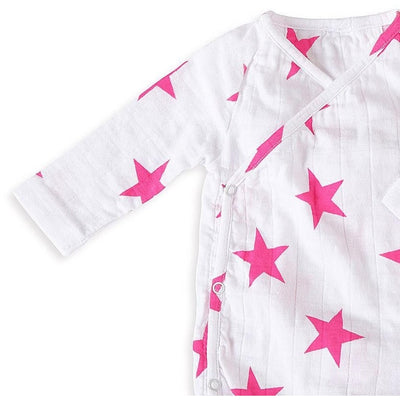 Long Sleeve kimono Bodysuit - Shocking Pink Star - Clothing - Aden and Anais - Afterpay - Zippay Carry Them Close