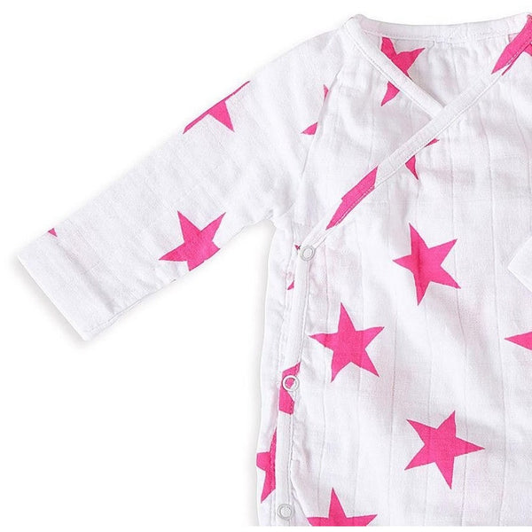 Long Sleeve kimono Bodysuit - Shocking Pink Star, , Clothing, Aden and Anais, Carry Them Close  - 1