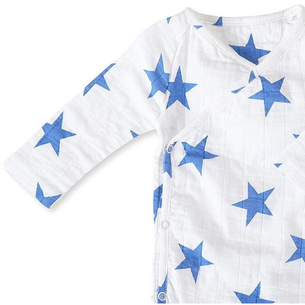 Long Sleeve kimono Bodysuit - Ultramarine Star, , Clothing, Aden and Anais, Carry Them Close