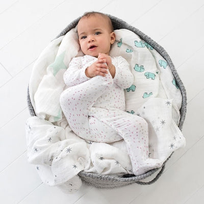 Long Sleeve kimono one-piece Sleepsuit - Lovely Mini Hearts - Clothing - Aden and Anais - Afterpay - Zippay Carry Them Close