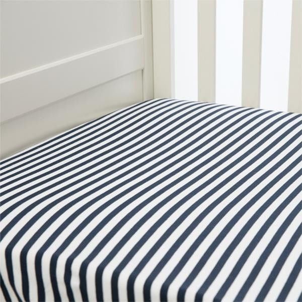 Lil Fraser - Cot Sheet Fitted 1 Piece - (Navy Stripe), , Bedding, L'il Fraser, Carry Them Close  - 1