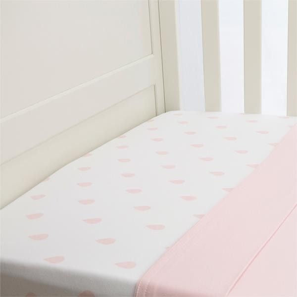 Lil Fraser - Cot Sheet 2 Piece Set (Pink Raindrop Fitted with Pink Flat), , Bedding, L'il Fraser, Carry Them Close  - 1