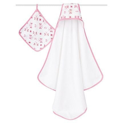 Aden and Anais - Towel and Wash Cloth Set - Princess Posie, , Bath, Aden and Anais, Carry Them Close  - 1