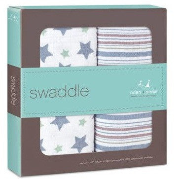 Aden and Anais - Swaddle - Prince Charming (2 set) - swaddle - Aden and Anais - Afterpay - Zippay Carry Them Close