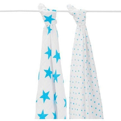 Aden and Anais - Swaddle - Fluro Blue (2 set) - swaddle - Aden and Anais - Afterpay - Zippay Carry Them Close