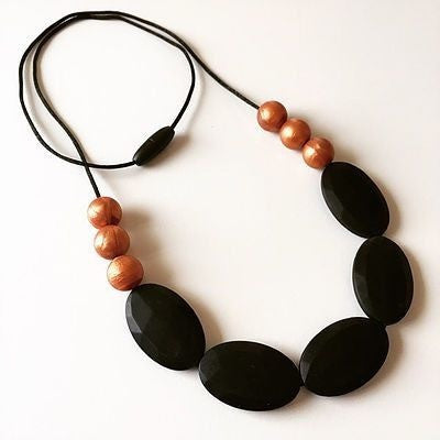 Oval and Copper Silicone Necklace - Teething Necklace - Nature Bubz - Afterpay - Zippay Carry Them Close