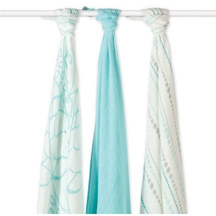 Aden and Anais - Bamboo swaddles (azure 3 Pack), , swaddle, Aden and Anais, Carry Them Close  - 1