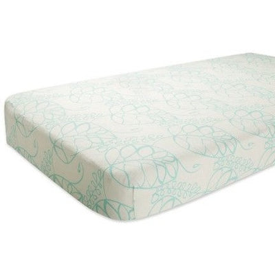 Aden and Anais - Cot Sheet - Bamboo Azure Leafy - nursery - Aden and Anais - Afterpay - Zippay Carry Them Close