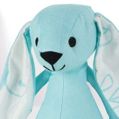 Aden and Anais - Musy Mate Mini Bamboo - Azure Solid Aqua (Bunny) - Toys - Aden and Anais - Afterpay - Zippay Carry Them Close