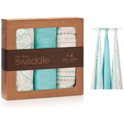 Aden and Anais - Bamboo swaddles (azure 3 Pack) - swaddle - Aden and Anais - Afterpay - Zippay Carry Them Close