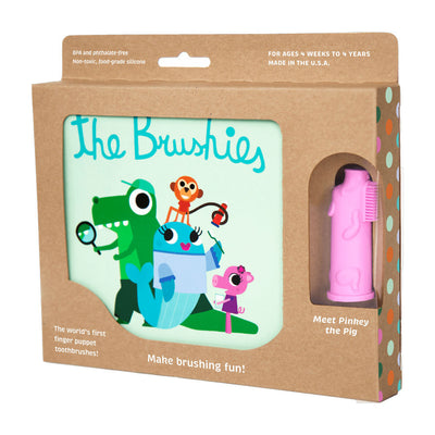Brushie - Silicone Finger Gum Toothbrush & Book Set - Pinkey the Pig