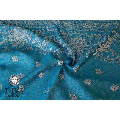 Diva Milano Woven Wrap - Barocco Lions (with Linen) - Petrel, , Woven Wrap, Diva Milano, Carry Them Close  - 1