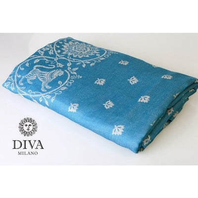 Diva Milano Woven Wrap - Barocco Lions (with Linen) - Petrel, , Woven Wrap, Diva Milano, Carry Them Close  - 2