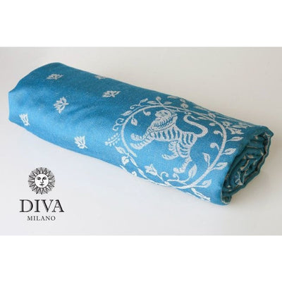 Diva Milano Woven Wrap - Barocco Lions (with Linen) - Petrel, , Woven Wrap, Diva Milano, Carry Them Close  - 3