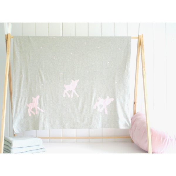 Alimrose Knit Stroller Blanket - Deer and Dots Pink - Baby Blankets - Alimrose - Carry Them Close