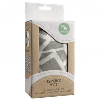 All4Ella Bamboo Baby Swaddle Wrap - Geometric Grey - Swaddle - All4Ella - Afterpay - Zippay Carry Them Close