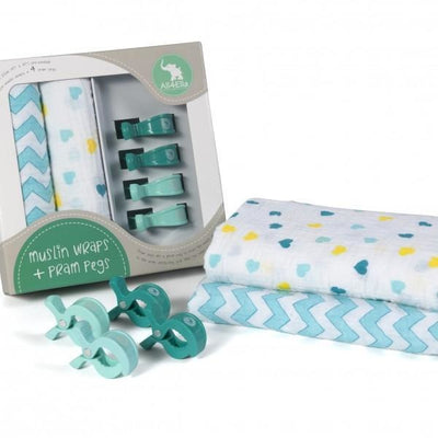 All4Ella Muslin Baby Swaddle Wraps & Pram Pegs Set - Hearts & Chevron Turquoise - Swaddle - All4Ella - Afterpay - Zippay Carry Them Close