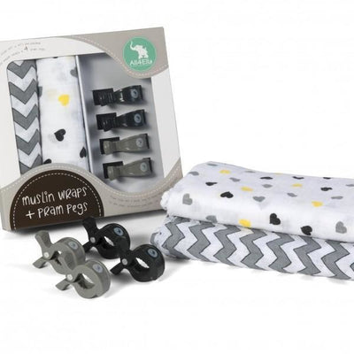 All4Ella Baby Swaddle Wraps & Pram Pegs Set - Hearts & Chevron Black and White - Swaddle - All4Ella - Afterpay - Zippay Carry Them Close