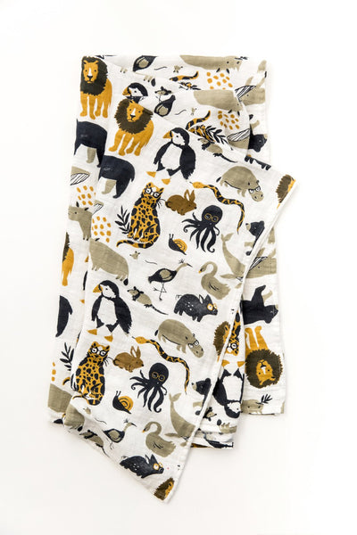 Clementine Kids - Cotton Muslin Baby Swaddle - Zoology