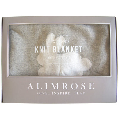 Alimrose Knit Cot Blanket - Bunnies and Dots Ivory - Bedding - Alimrose - Afterpay - Zippay Carry Them Close