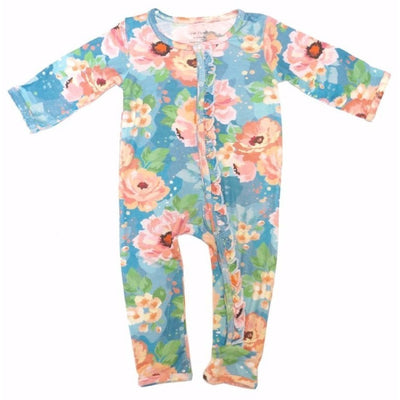 Posh Peanut Bamboo Romper - Blue Winter Peony **Pre-Washed**
