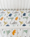 Little Unicorn - Cotton Muslin Cot Sheet - Dino Friends
