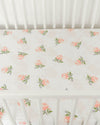 Little Unicorn - Cotton Muslin Cot Sheet - Watercolour Rose