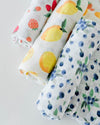 Little Unicorn - Cotton Muslin Baby Swaddle (Set 3) - Berry Lemonade