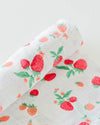 Little Unicorn - Cotton Muslin Baby Swaddle - Strawberry