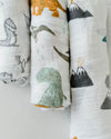 Little Unicorn - Cotton Muslin Baby Swaddle (Set 3) - Dino Friends