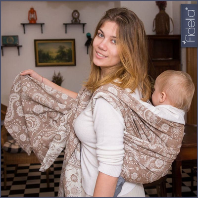 Fidella Woven Wrap - Persian Paisley toffee - Woven Wrap - Fidella - Afterpay - Zippay Carry Them Close