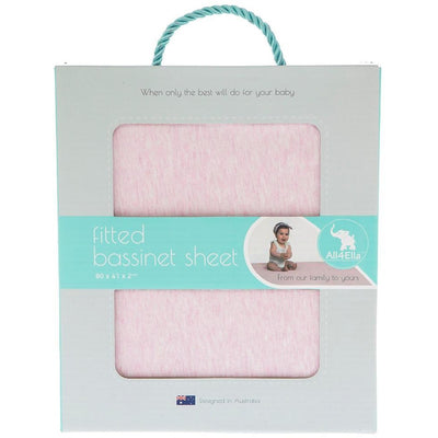 All4Ella - Fitted Jersey Bassinet Sheet - Marle Pink - Bedding - All4Ella - Afterpay - Zippay Carry Them Close