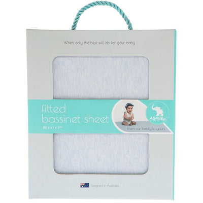 All4Ella - Fitted Jersey Bassinet Sheet - Marle Blue - Bedding - All4Ella - Afterpay - Zippay Carry Them Close