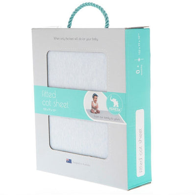 All4Ella - Fitted Jersey Cot Sheet - Marle Blue - Bedding - All4Ella - Afterpay - Zippay Carry Them Close
