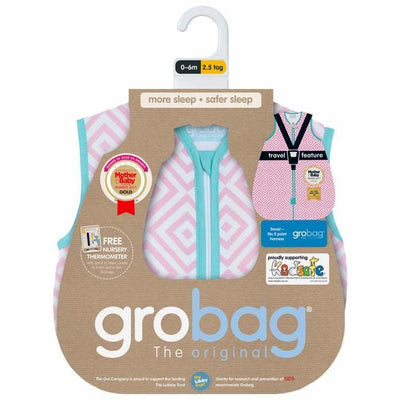 Grobag - Diamonds Pink Travel 2.5 Tog - Baby Sleeping Bags - The Gro Company - Afterpay - Zippay Carry Them Close