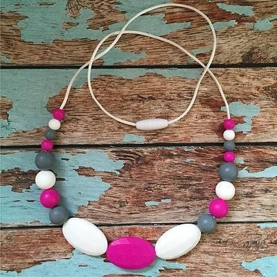 Oval Pink and Grey Necklace - Teething Necklace - Nature Bubz - Carry Them Close