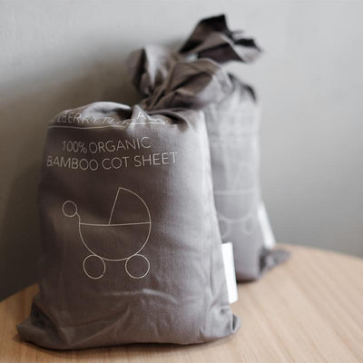 Mulberry Threads - Organic Bamboo Cot Sheets - Steel