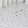 Little Turtle Baby - Fitted Cot Sheet - Pale Blue & Grey Spots