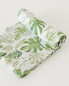 Little Unicorn - Cotton Muslin Baby Swaddle - Tropical Leaf