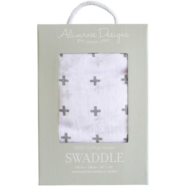 Alimrose Muslin Swaddle - Charcoal Crosses, , Bedding, Alimrose, Carry Them Close  - 1